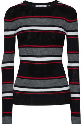 FRAME Striped ribbed merino wool-blend sweater