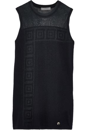 VERSACE COLLECTION Paneled jacquard-knit tank