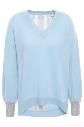 CHARLI Calanthe distressed two-tone cashmere sweater