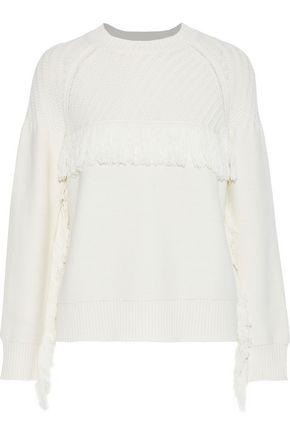 FRAME Fringe-trimmed cotton-blend sweater