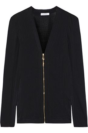 VERSACE COLLECTION Georgette-paneled stretch-knit sweater