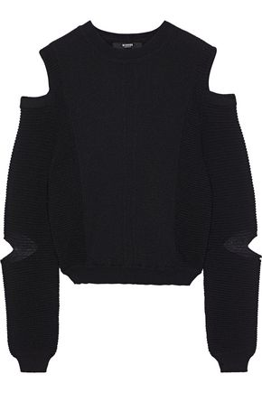 VERSUS VERSACE Cold-shoulder cutout ribbed-knit sweater