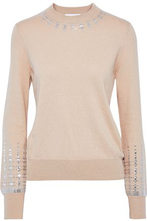 PACO RABANNE Studded cotton and cashmere-blend sweater