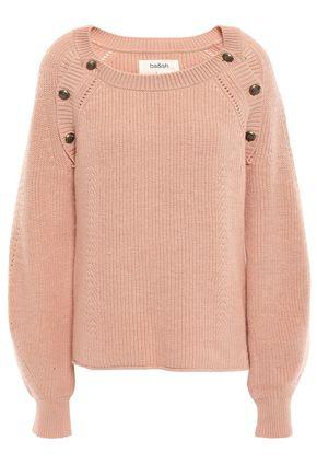 BA&SH Daia button-detailed ribbed cotton-blend sweater