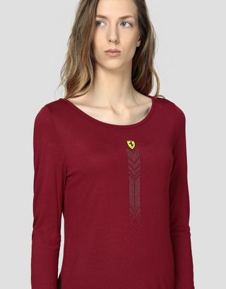 Scuderia Ferrari Online Store - Women's viscose T-shirt with rhinestones - Long Sleeve T-Shirts