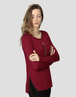 Scuderia Ferrari Online Store - Women's viscose T-shirt with rhinestones - Long Sleeve T-Shirts