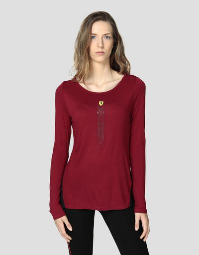 Women's T-shirt in viscose with rhinestones