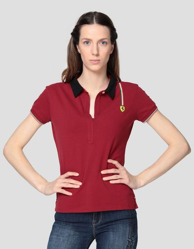 Women's cotton piquet polo shirt with Italian flag
