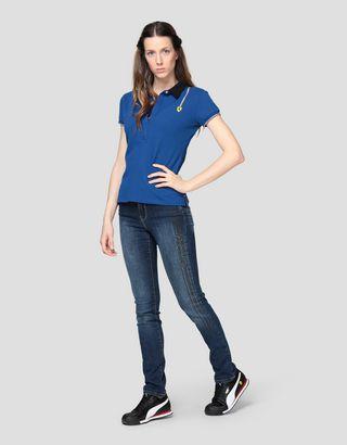 Scuderia Ferrari Online Store - Damen-Poloshirt aus Baumwollpikee mit Trikolore - Kurzärmelige Poloshirts