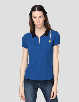 Scuderia Ferrari Online Store - Women's cotton piquet polo shirt with Italian flag - Short Sleeve Polos