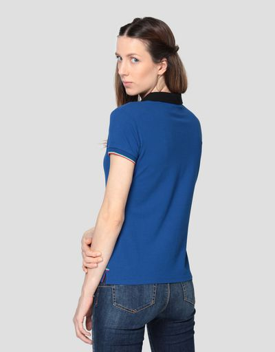 Women's cotton piqué polo shirt with three-colour detail
