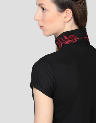 Scuderia Ferrari Online Store - Women's polo shirt with laurel embroidery - Short Sleeve Polos