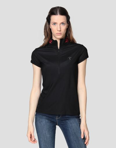 Women's polo shirt with laurel embroidery