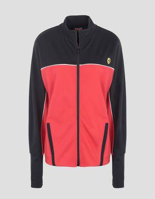 Scuderia Ferrari Online Store - Women's two-tone sweatshirt in Milano Rib - Zip Sweaters