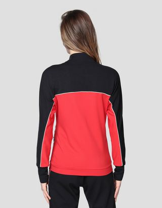 Scuderia Ferrari Online Store - Women's two-tone sweatshirt in Milano rib - Zip Jumpers