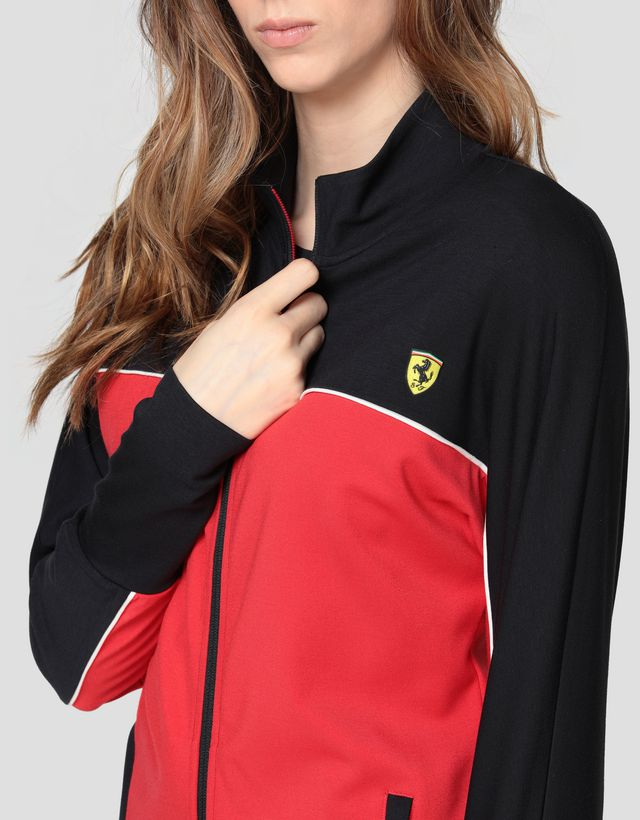 Scuderia Ferrari Online Store - Sweat-shirt bicolore pour femme en point de Milan - Zip Jumper