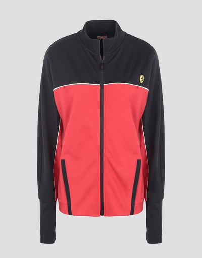 Scuderia Ferrari Online Store - Women's two-tone sweatshirt in Milano rib - Zip Jumpers