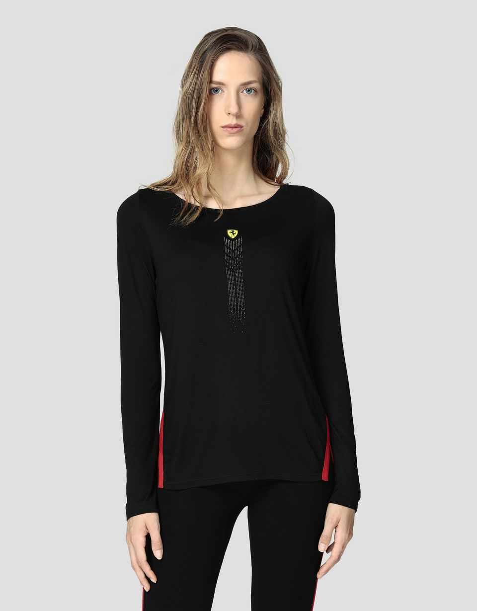 Scuderia Ferrari Online Store - Women's T-shirt in viscose with rhinestones - Long Sleeve T-Shirts