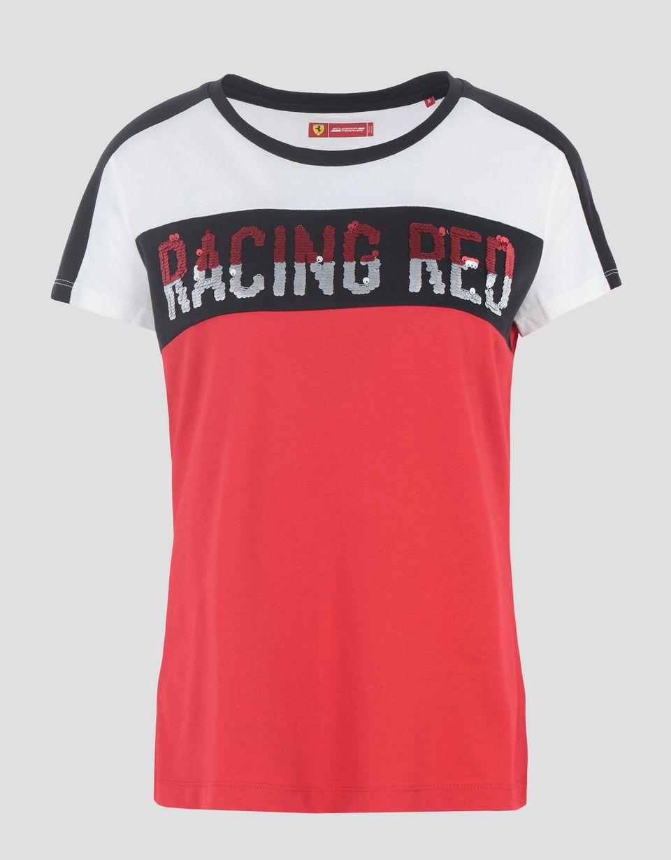 Scuderia Ferrari Online Store - T-shirt donna in jersey di cotone con paillettes - T-shirt manica corta