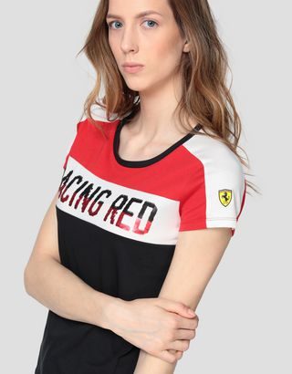 Scuderia Ferrari Online Store - Women's cotton jersey T-shirt with sequins - Short Sleeve T-Shirts