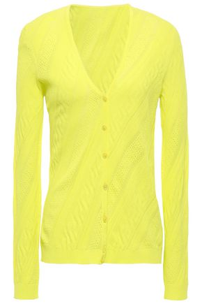 VERSACE Pointelle-trimmed ribbed-knit cardigan