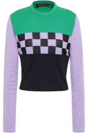 VERSACE Color-block intarsia cotton-blend sweater