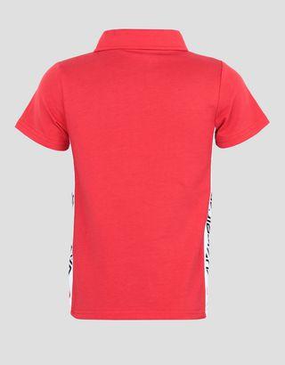Scuderia Ferrari Online Store - Children's jersey polo shirt with SCUDERIA FERRARI print - Short Sleeve Polos