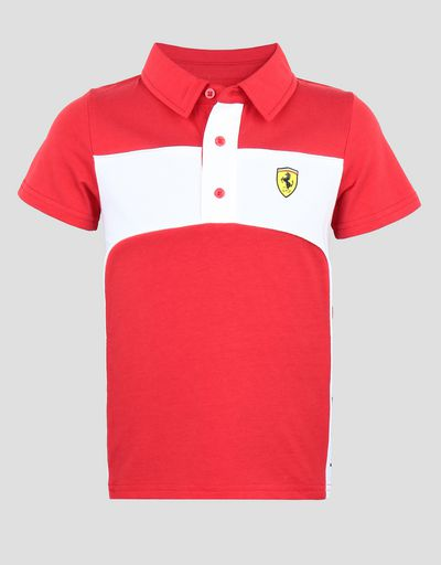 Children's jersey polo shirt with SCUDERIA FERRARI print