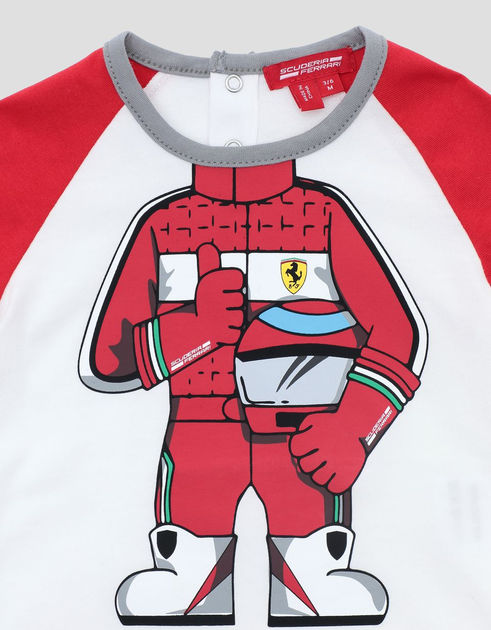Scuderia Ferrari Online Store - Infant cotton T-shirt with driver print - Short Sleeve T-Shirts