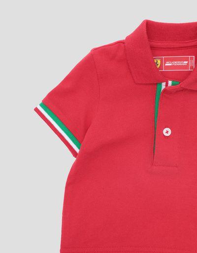 Scuderia Ferrari Online Store - Baby-Poloshirt aus Baumwollpikee mit italienischer Flagge - Kurzärmelige Poloshirts