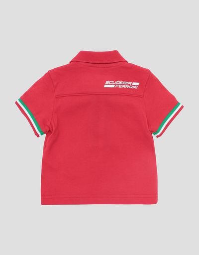 Infants' cotton pique polo shirt with Italian flag