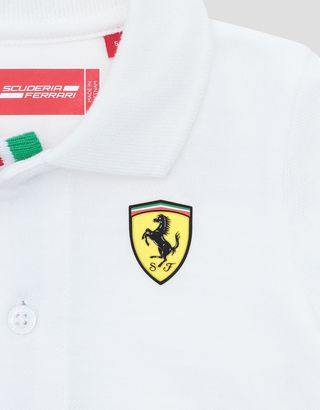 Scuderia Ferrari Online Store - Infants' cotton pique polo shirt with Italian flag - Short Sleeve Polos