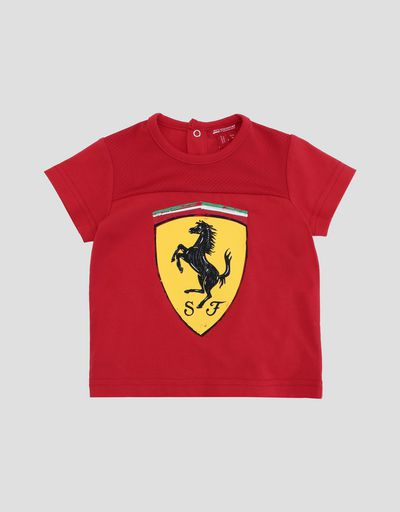 Infants' cotton jersey T-shirt with Ferrari Shield