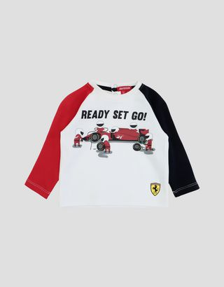 Scuderia Ferrari Online Store - Long-sleeved infant T-shirt in cotton - Long Sleeve T-Shirts