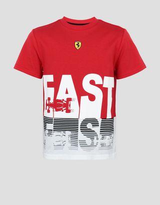 Scuderia Ferrari Online Store - Kids' cotton jersey T-shirt with FAST print - Short Sleeve T-Shirts