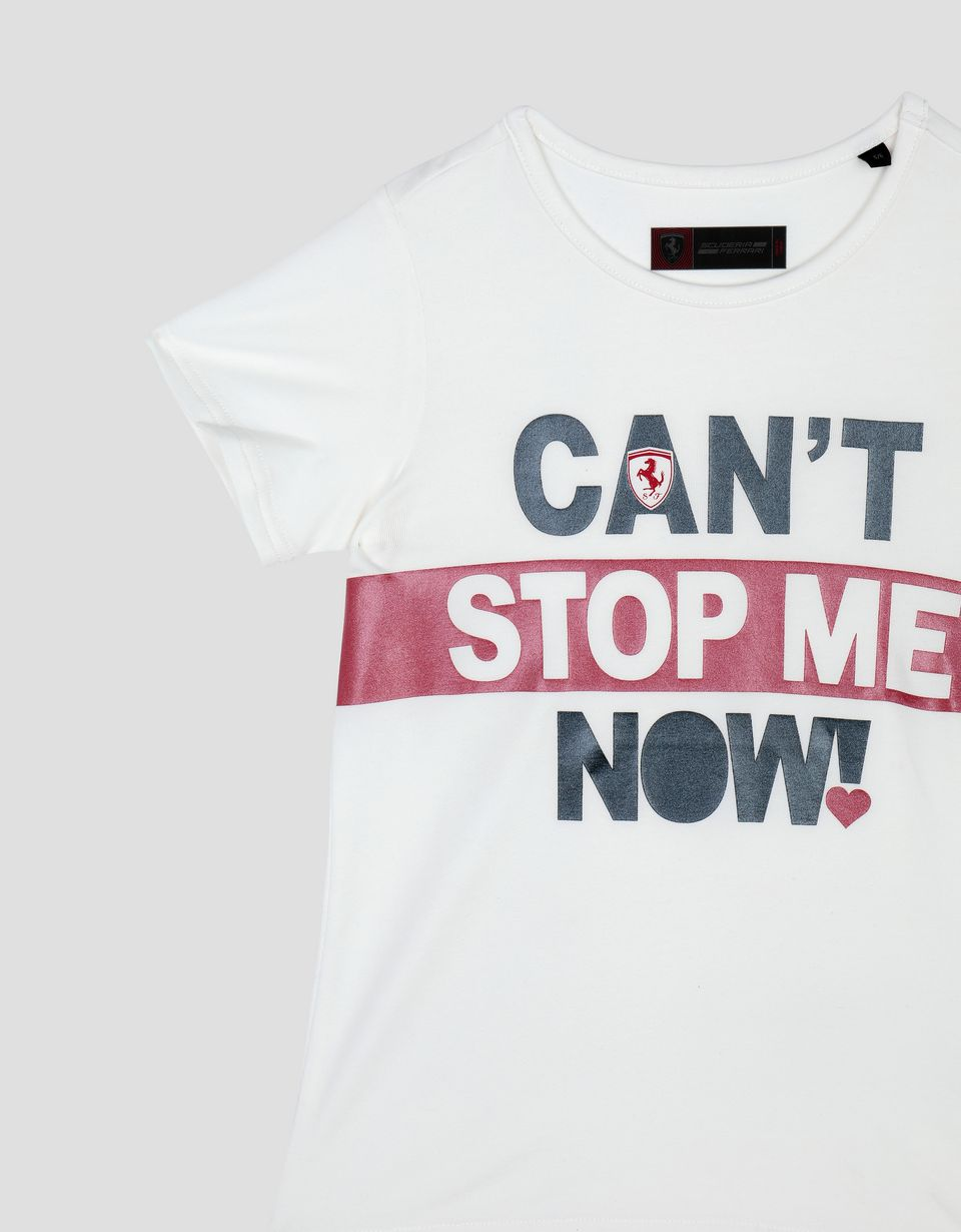 Scuderia Ferrari Online Store - Girl's T-shirt with CAN'T STOP ME NOW! print -