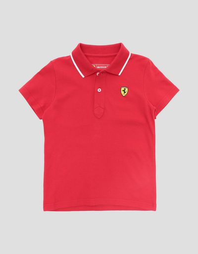 Pique children's polo shirt with contrasting collar band