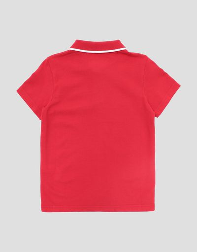 Boys' pique polo shirt with contrasting band on collar