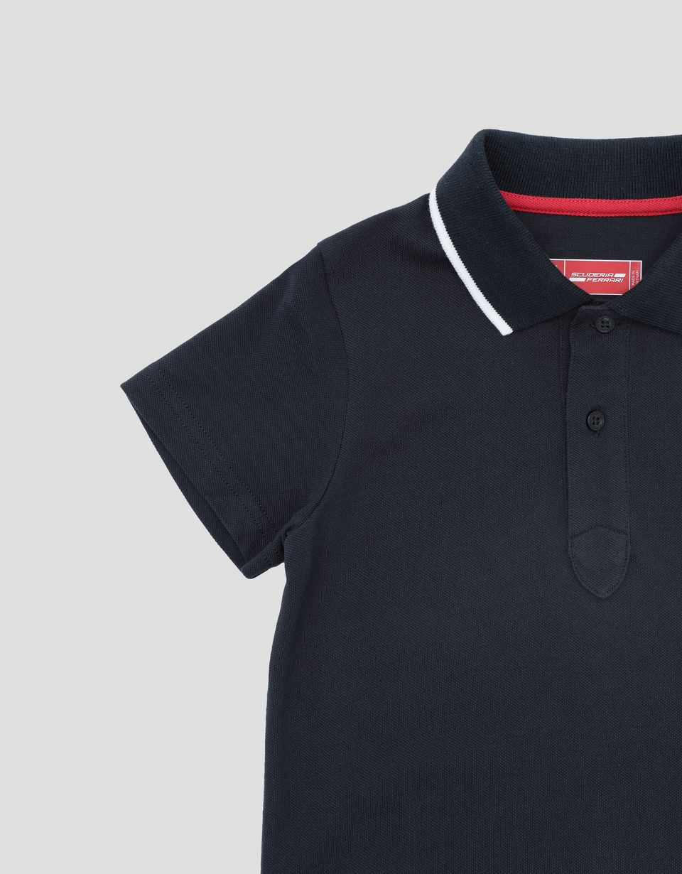 Scuderia Ferrari Online Store - Pique children's polo shirt with contrasting collar band - Short Sleeve Polos
