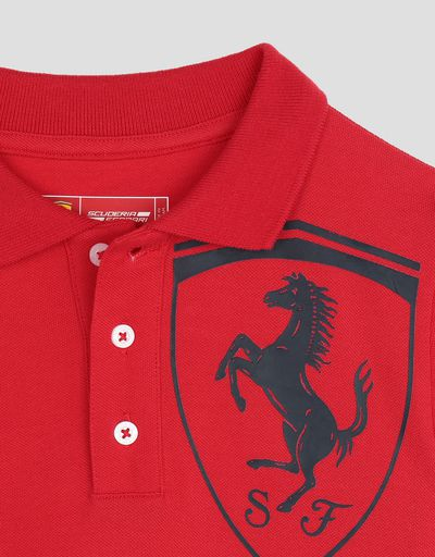 Scuderia Ferrari Online Store - Cotton pique children's polo shirt with 3D Ferrari Shield - Short Sleeve Polos