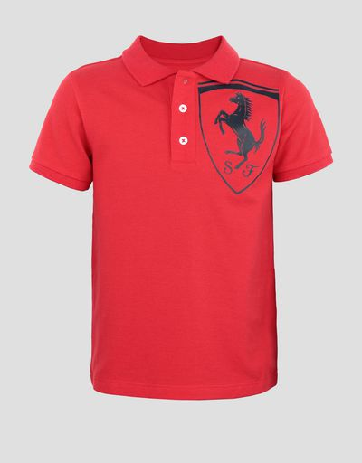 Boys' cotton pique polo shirt with 3D Ferrari Shield