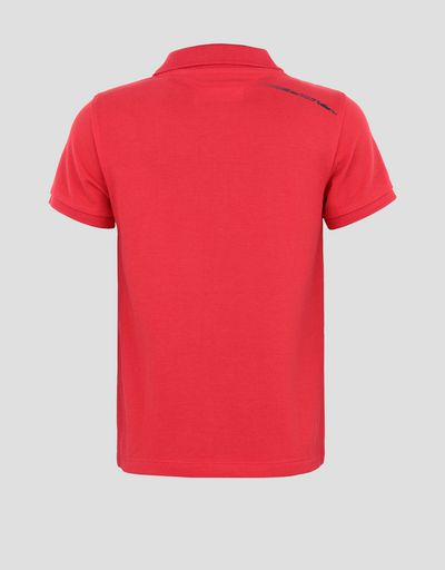 Cotton pique children's polo shirt with 3D Ferrari Shield