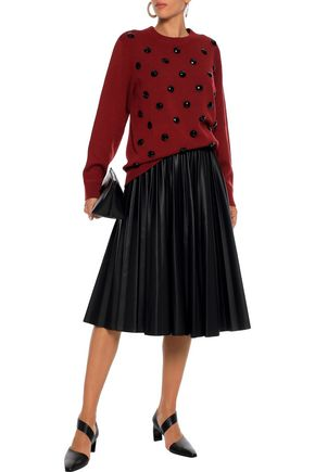 Marc Jacobs MARC JACOBS WOMAN CRYSTAL-EMBELLISHED KNITTED SWEATER BURGUNDY