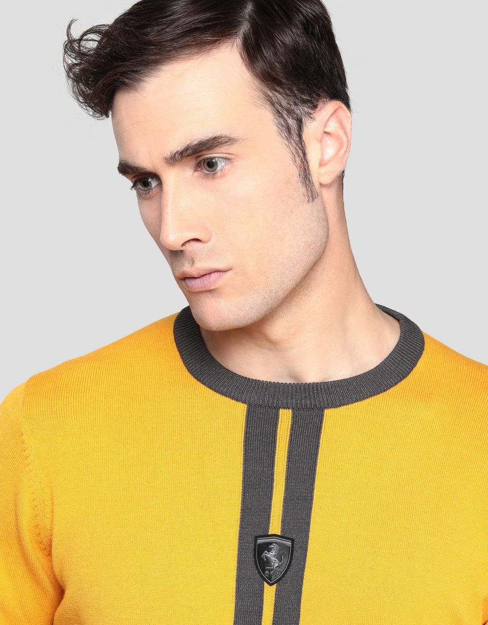 Scuderia Ferrari Online Store - Men's knitted pullover with livery design - Crew Neck Jumpers