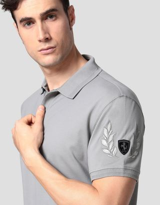 Scuderia Ferrari Online Store - Men's pique polo shirt with laurel embroidery - Short Sleeve Polos