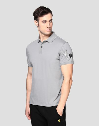 Men's pique polo shirt with laurel embroidery