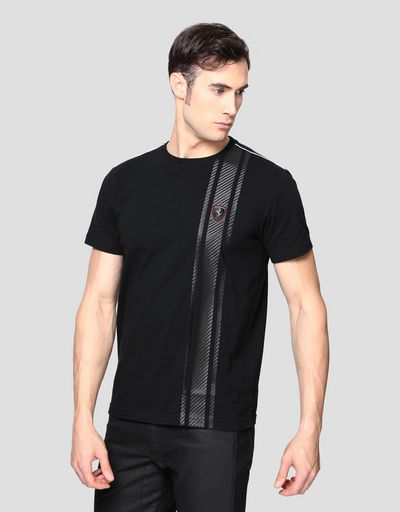 Men's T-shirt with carbon fibre effect print