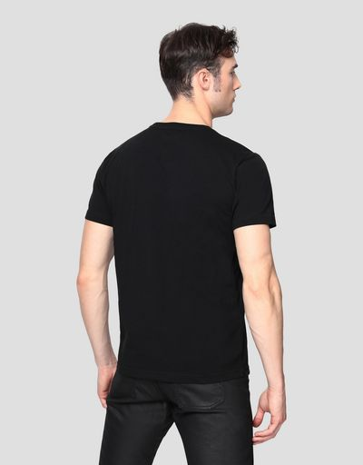 Men's T-shirt with carbon fiber-effect print