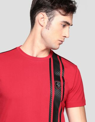 Scuderia Ferrari Online Store - Men's T-shirt with carbon fiber-effect print - Short Sleeve T-Shirts