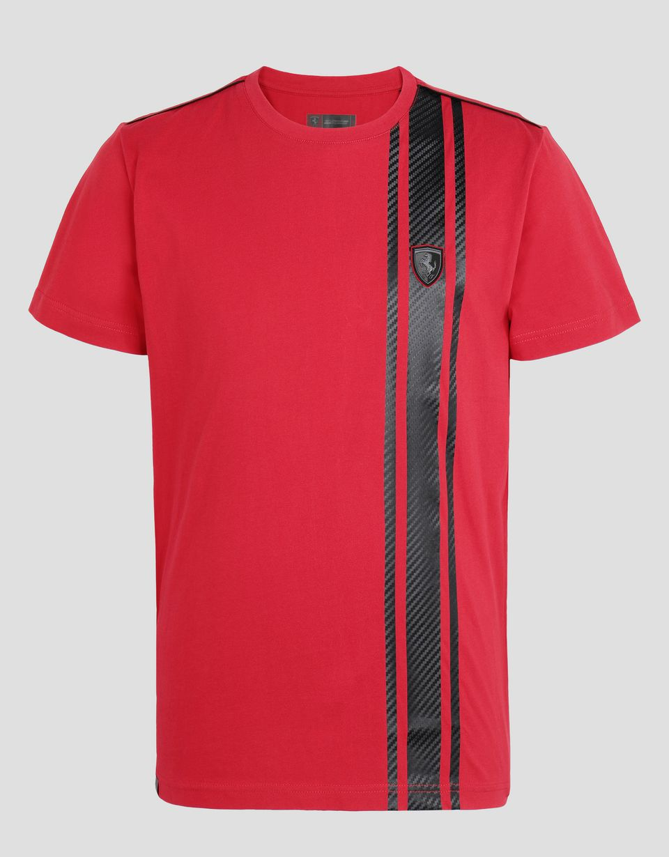 Scuderia Ferrari Online Store - Men's T-shirt with carbon fibre effect print - Short Sleeve T-Shirts